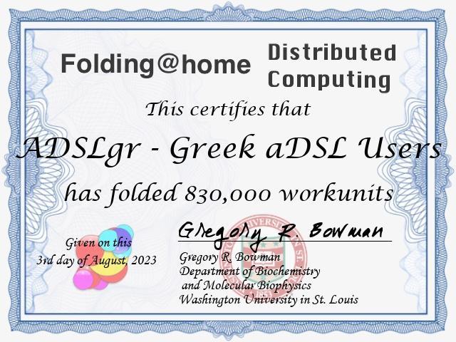 ADSLgr F@H team points certificate